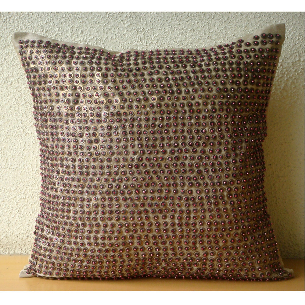 Brown Throw Pillows Cover Square Sequins