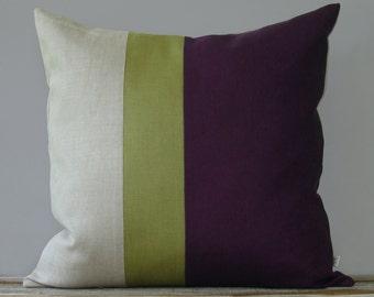 Linden Green and Purple Color Block Pillow Cover (20x20) Modern Home Decor by JillianReneDecor - Plum Decorative Pillow