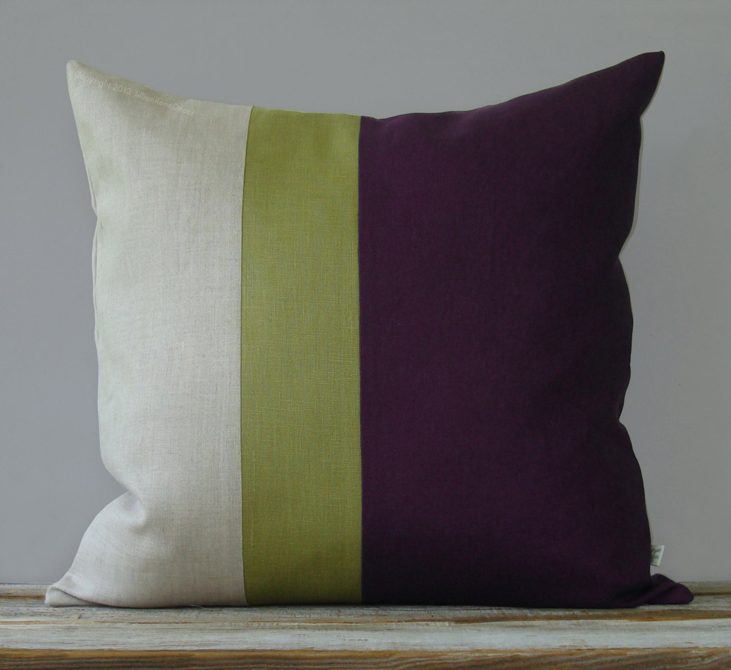 Linden Green and Purple Color Block Pillow Cover 18x18