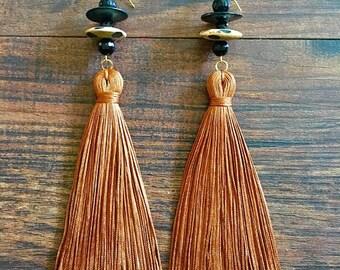 tassel earrings, Fringe, Long tassel earrings, Dangle Drop Earrings, Statement Earrings, Yellow earrings, Boho Earrings, Women's