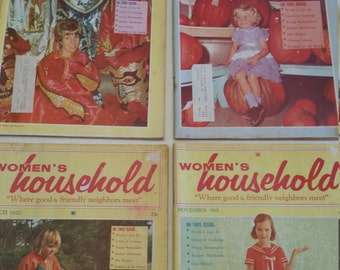 4 vintage womens household magazines lot 1969 - 1970 - ladies diet recipes crafts quilting homemaker books family monthly journals