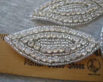 2 Beaded rhinestone eye Appliques clear acrylic crystals Embellish costume Tshirt bridal bling purse pillow headband fascinator seed beads