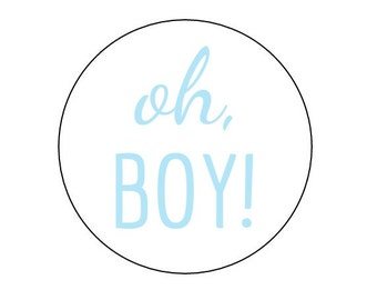 20 Oh Boy Stickers, Baby Shower, It's a Boy, Boy Theme, Oh Baby, Baby Blue, Baby Shower Labels, Envelope Seals, Oh Boy Labels, Celebrate