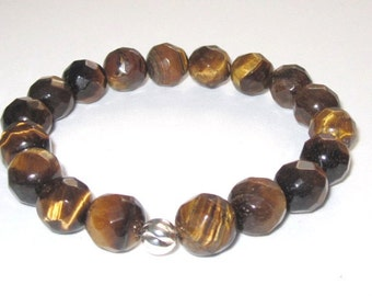 Men Bracelet , Gender Neutral Tiger Eyes Beaded Bracelet Mala Bracelet, Worry Beads Protection Healing Crystal, Gifts Yoga Chakra Bracelet