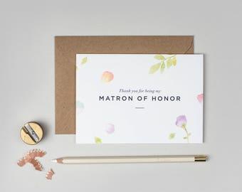 Thank you Matron of Honor Card/Amelia Matron of Honor Card/Matron of Honor/Floral Matron of Honor Card/Watercolour Matron of Honor Card