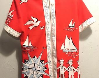 1970's novelty print shirt, novelty print, nautical shirt, vintage novelty print, vintage nautical, women's vintage shirt, medium shirt,
