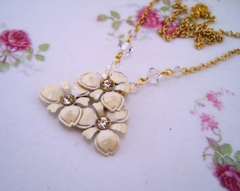 Rhinestone necklace. Gold and white jewelry. Upcycled necklace. Gift for bride. Clear Swarovski beads. OOAK gift for her. Flower pendant.