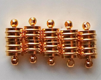 Magnetic Ribbed Clasp Converter Gold/Silver 20x8mm Jewellery Findings x 5  - T12