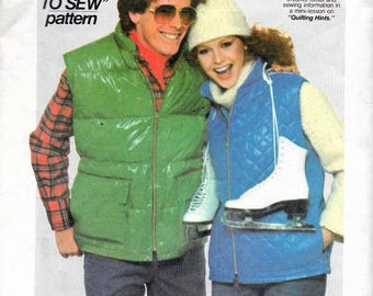 "Vintage 1977 Simplicity 8123 Every Body Vest Sewing Pattern Size Small Chest or Bust 32""-34"""