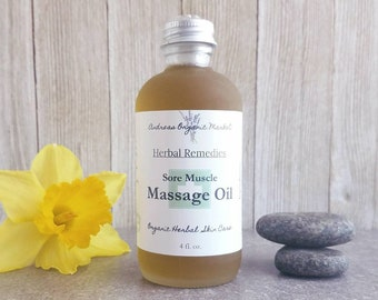 Organic Massage Oil For Sore Muscles, Herb Infused Massage Oil, All Natural Massage Oil, Pain, Herbal Massage, Vegan Massage Oil