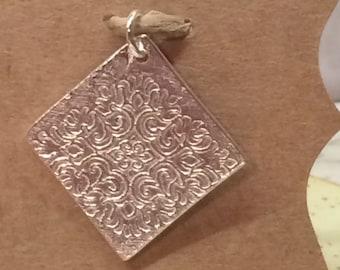 Textured Filigree Art Clay Pendant, .999 Fine Silver Art Clay Pendant, Diamond Shaped Pendant Flower Medallion Pendant, Pendants under 65