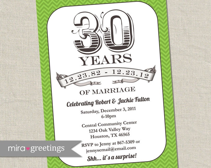 30th anniversary invitation green emerald vintage anniversary party invite fortieth printable digital file
