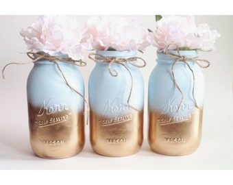 Blue and Gold Mason Jars, Blue and Gold Baby Shower Centerpieces