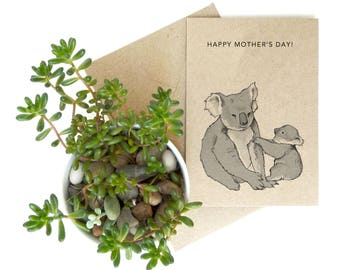 Koala Mother's Day card - animal illustration - mother baby card - eco friendly - recycled kraft card