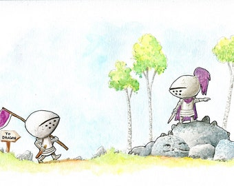 Brave Knights and the Gray Dragon Watercolor Print