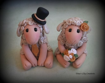 Wedding Cake Topper, Custom Sheep, Lambs, Personalized Polymer Clay Wedding/Anniversary Keepsake, Animal