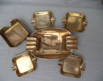 Set of 6 nesting ashtrays solid brass / french Vintage 70/object of the smoker/design