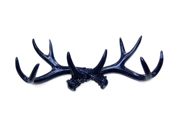 FAUX TAXIDERMY - Navy Blue- Antler Rack Wall Hook & Jewelry Organizer - Resin Antler Wall Decor AH65