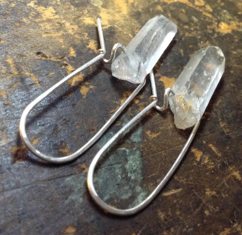 Two Stones QUARTZ points earrings clear quartz quartz
