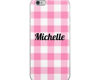 Personalized iPhone Case With Name, Pink Gingham Preppy Custom Name iphone Case