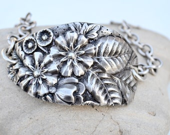 Antique Victorian Art Nouveau Floral  Repoussé Sterling Silver Chain Cuff Bracelet Repurposed Solid 925 .925 Spoon