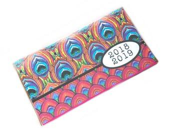 2018 - 2019 mini Planner - agenda de poche Magenta paon - deux ans calendrier - chic 2 ans ce mois-ci planificateur nouvel an - rose orange citron vert