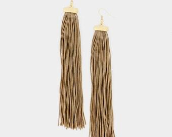 Beige Long Tassel Earrings