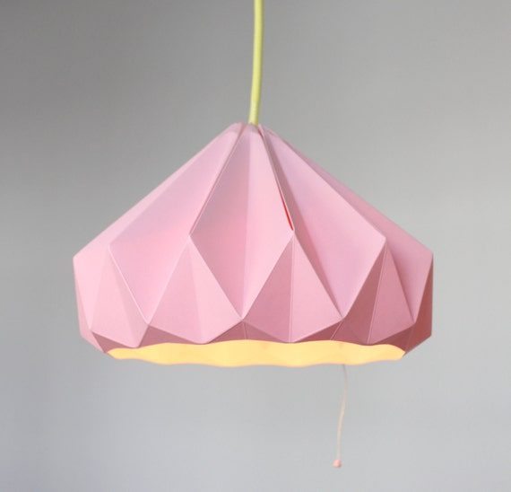Paper origami lampshade chestnut pink aloadofball Gallery