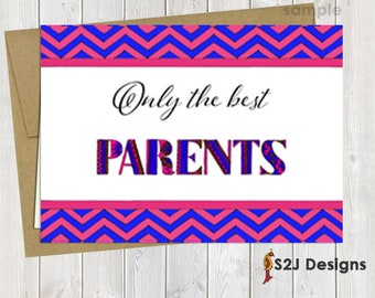 Only the best parents get promoted to grandparents, 5x7 customized printed pregnancy announcement card, pink and blue collection