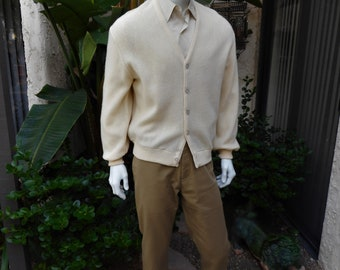 Vintage 1980's Arnold Palmer Cream Colored Wool Golf Cardigan - Size Large