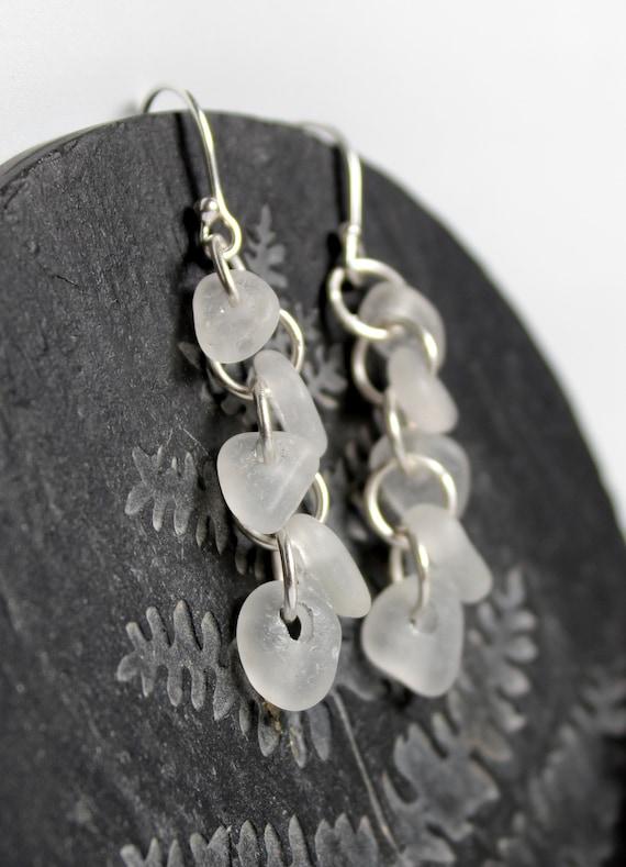 Cascade sea glass earrings in white