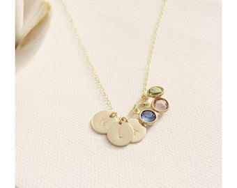 Birthstone Charm Necklace / Dainty Charm with Birthstone Necklace / 14k Gold Filled