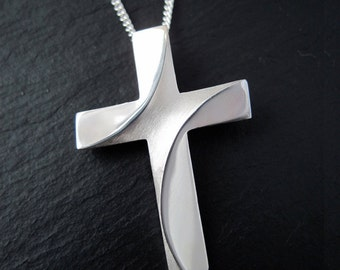 Large Silver Cross, River Jordan Cross Pendant with Chain, Christian Cross Necklace, Sylized Cross, from our Spiritus Jewelry Collection