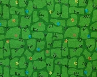 Green with Alphabet Fabric Fat Quarter