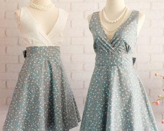 Floral dress Blue dress V neck dress floral dress Blue party dress floral sundress Blue bridesmaid dresses floral bridesmaid dresses