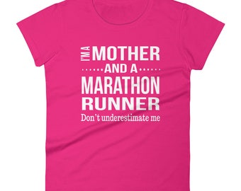 Funny Mother and A Marathon Runner Running Gift for Her Women First Half Marathon Race Women's t-shirt Birthday Christmas Gifts
