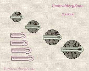 Buttonholes with eyelet machine Embroidery design Button-hole Frame for buttons or peephole. Hoop 4x4 5 sizes.