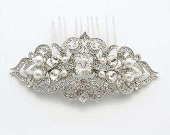 Bridal Hair Comb Silver Pearl Wedding Hair Accessories Bridal Hair Jewelry, Jolie