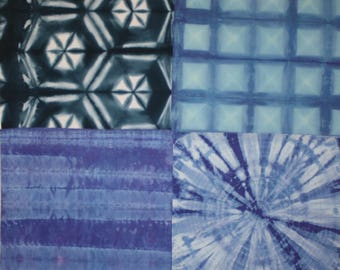 186 - Four blue shibori fat quarters