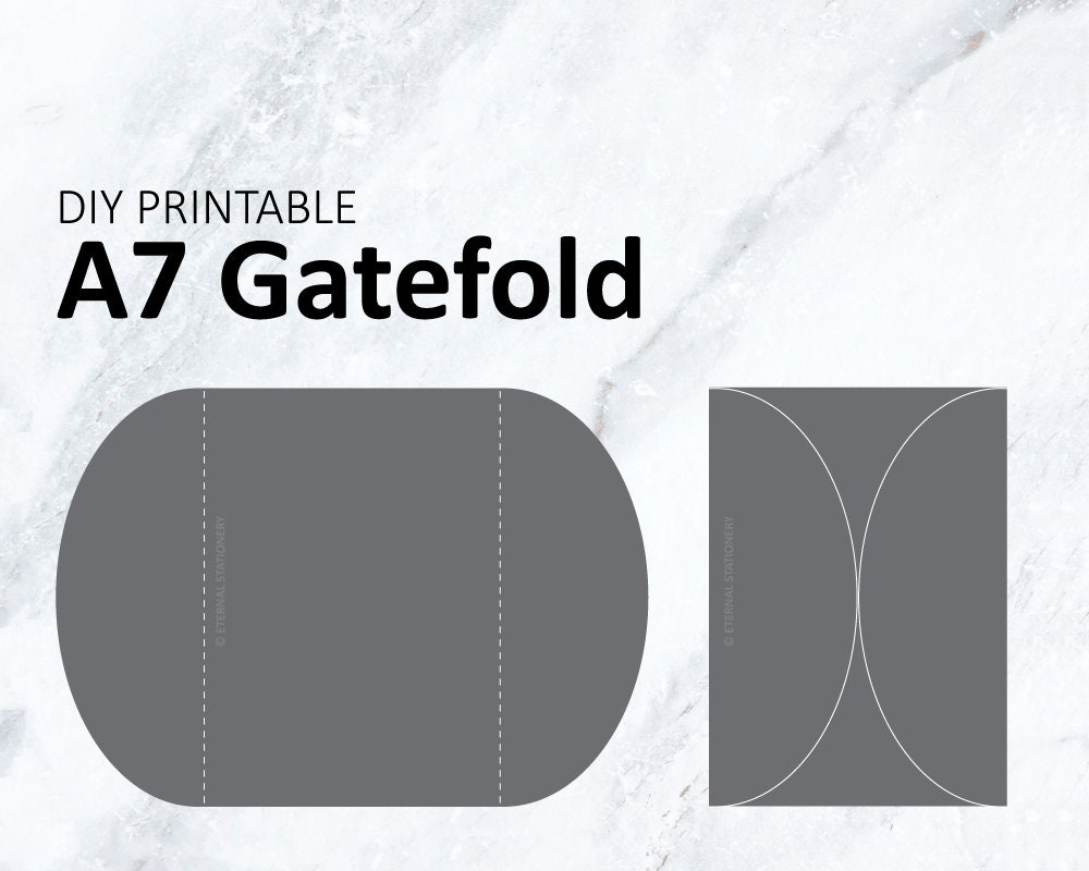 DIY A7 Gatefold Invitation Template Printable wedding