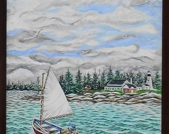 This painting is titled Sailing Around Pemaquid Point.