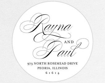 Return Address Label, Wedding Return Address Label, Family Return Address Label, Save the Date Return Address Label, Calligraphy, Black, DIY