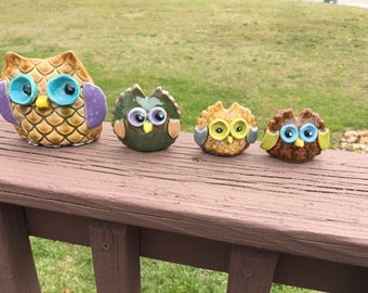 Pottery Owl Family. Ceramic FREE SHIPPING Owls4