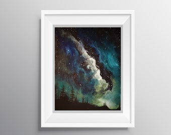 Northern Lights - Physical Print of Colorful Night Sky Oil Painting (Multiple Sizes)