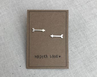 Tiny Arrow Stud Earrings in Sterling Silver. Sterling Silver Posts. Arrow Earrings. Basic Shape Earrings. Minimalist Everyday Jewelry.
