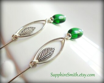 40% off LEAFY GREENS Emerald Green Smooth Hydro Quartz Pebbles, Embossed Sterling Silver Leaf, Elven-style Earrings, modern jewelry