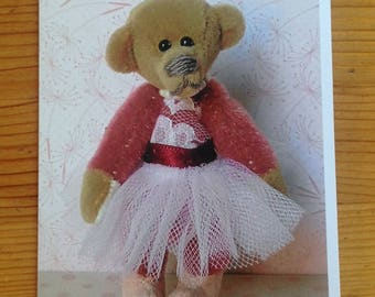 Greeting card - featuring 'Alice', a Bearly Bears miniature ballerina bear