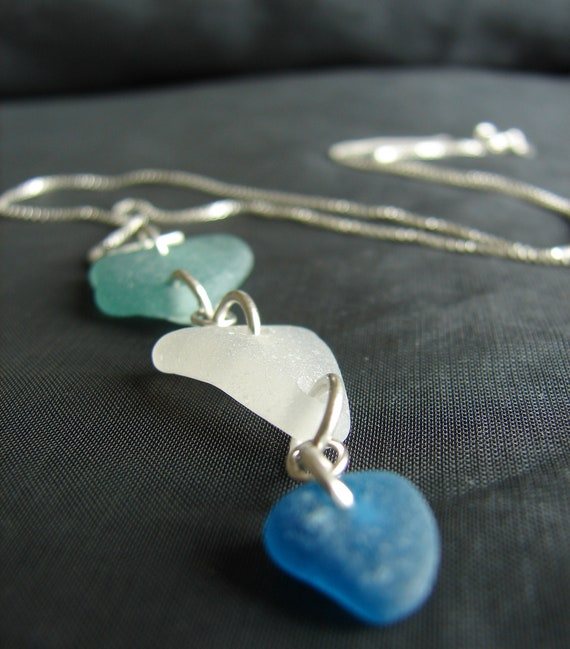Billows sea glass necklace in teal