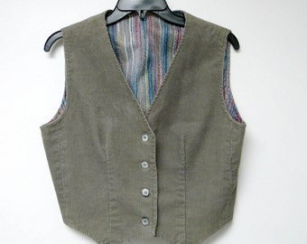 gray corduroy tapered vest . fits a small to medium / bust 36""