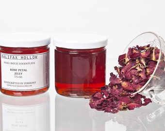 Rose Petal Jelly- Foodie Gifts- Preserves- Edible Flowers- Small Batch Jam- Gourmet Food- Farm to Table- Wedding Favors- Mother's Day Gift